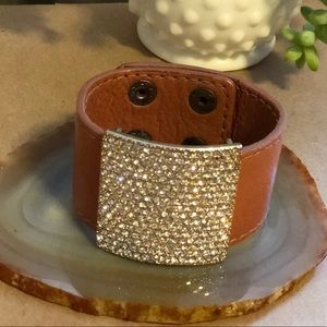Tan Leather and Gold/ CZ Cuff